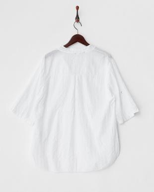 ホワイト  ドット&ストライプハーフプラケットシャツ見る