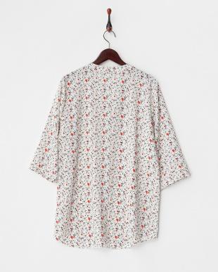 ホワイト  小花プリントハーフプラケットシャツ見る