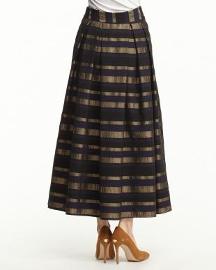 ブラック/ブロンズ ボーダーロングスカート見る