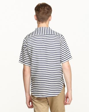 NAVY×WHITE オープンカラーシャツ見る