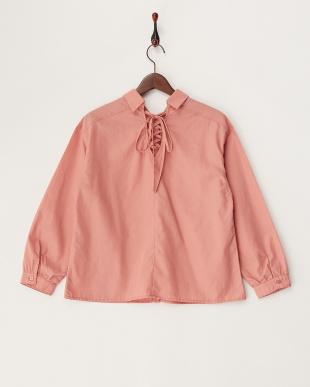 ピンク  バックレースアップシャツ見る