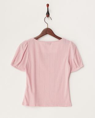 ピンク フラワー刺繍スクエアネックトップス見る