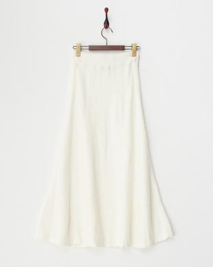 オフホワイト  ソフトタッチロングスカート見る