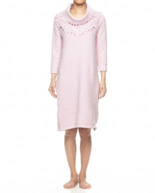 アッシュピンク  ホイップリーフリンジロングドレス見る