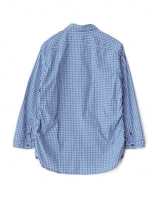 ブルー  シャーリングギンガムスリークォーターシャツ見る