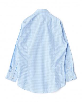 ブルー系 ギンガムチェック 長袖ボタンダウンワイシャツ見る