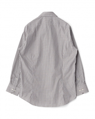 ブラウン系 チェック柄 長袖ボタンダウンワイシャツ見る