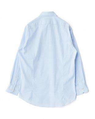 ブルー系 チェック柄 長袖ボタンダウンワイシャツ見る