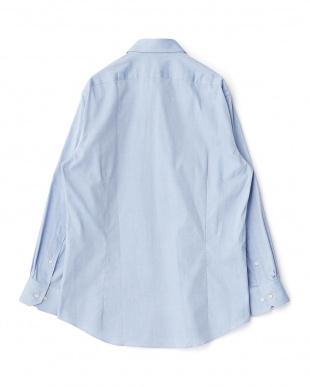 ブルー系 無地 長袖レギュラーカラーワイシャツ見る