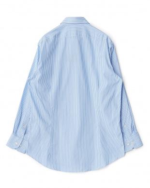ブルー系 ストライプ柄 長袖レギュラーカラーワイシャツ見る