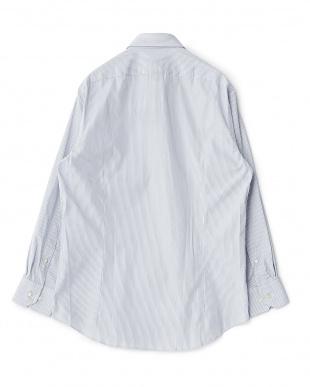 パープル系 ストライプ柄 長袖レギュラーカラーワイシャツ見る