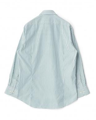 グリーン系 ストライプ柄 長袖レギュラーカラーワイシャツ見る