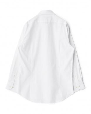 ホワイト系 織り柄 長袖レギュラーカラーワイシャツ見る