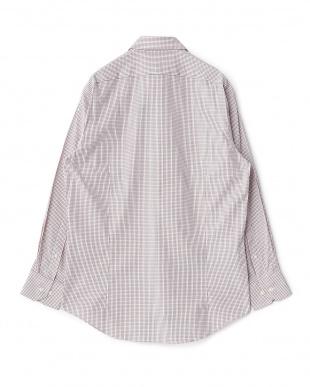 レッド系 チェック柄 長袖レギュラーカラーワイシャツ見る