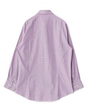 パープル系 ハウンドトゥース 長袖レギュラーカラーワイシャツ見る
