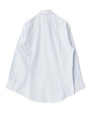 ブルー系 チェック柄 長袖レギュラーカラーワイシャツ見る