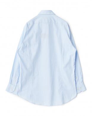 ブルー系 ヘリンボーン 長袖レギュラーカラーワイシャツ見る