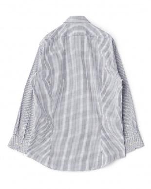 ブルー系 チェック柄 長袖ワイドカラーワイシャツ見る