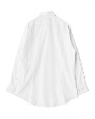 ホワイト系 ツイル調 長袖ワイドカラーワイシャツ見る