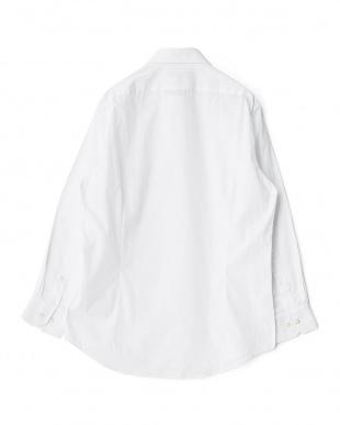 ホワイト系 無地 長袖ワイドカラーワイシャツ見る