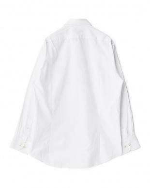 ホワイト系 シャドーストライプ 長袖ワイドカラーワイシャツ見る