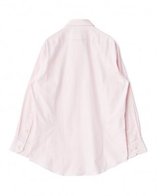 ピンク系 ヘリンボーン 長袖ワイドカラーワイシャツ見る