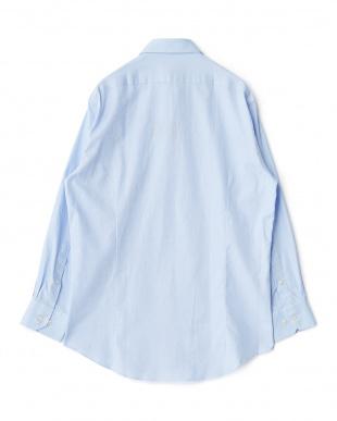 ブルー系 無地 長袖ワイドカラーワイシャツ見る