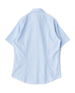 ブルー系 無地 半袖ボタンダウンワイシャツ見る