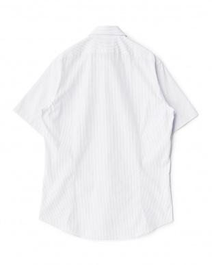 ラベンダー系 ストライプ柄 半袖ボタンダウンワイシャツ見る