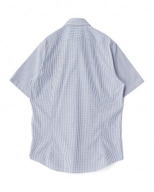 ネイビー系 チェック柄 半袖ボタンダウンワイシャツ見る