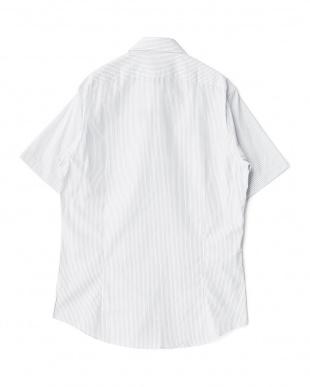 ネイビー系 ストライプ柄 半袖ボタンダウンワイシャツ見る