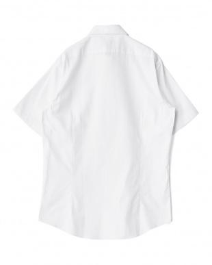 ホワイト系 無地 半袖ボタンダウンワイシャツ(オックスフォード)見る