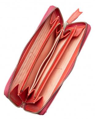 ピンク  ビジューハートラウンドジップ財布見る