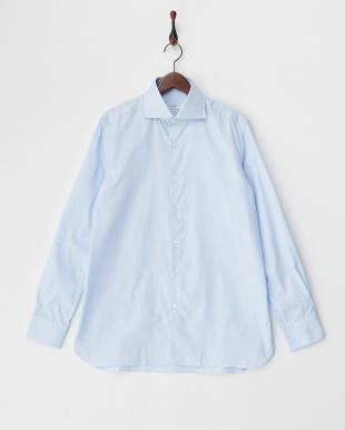 ブルー コットンブロードシャツ見る