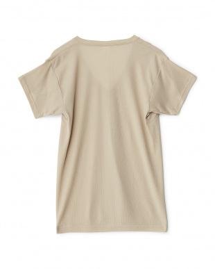 ベージュ  ワキ汗ジミ防止 吸水速乾 深Vネック2分袖シャツ見る