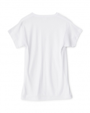 ホワイト  ワキ汗ジミ防止 吸水速乾 深Vネック2分袖シャツ見る