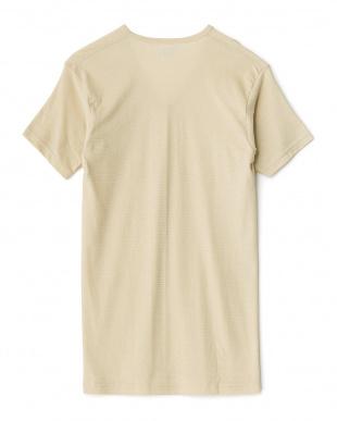 ベージュ  吸水速乾 ワキ汗ジミ防止 17cmVネックTシャツ見る
