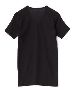 ブラック  吸水速乾 ワキ汗ジミ防止 17cmVネックTシャツ見る