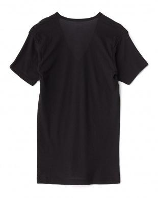 ブラック  吸水速乾 ワキ汗ジミ防止 22cmVネックTシャツ見る
