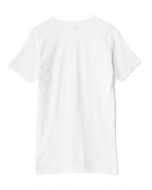 ホワイト  吸水速乾 ワキ汗ジミ防止 22cmVネックTシャツ見る