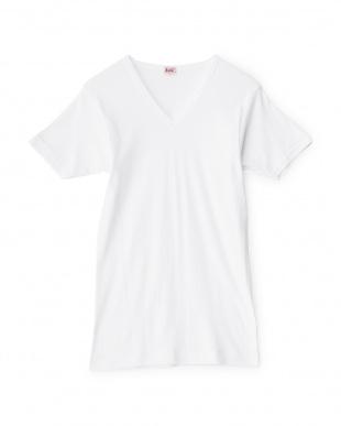 ホワイト 3枚セット 綿100% GOLD V首半袖Tシャツ見る