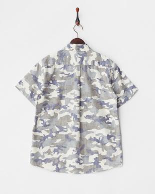 オフホワイト系  カモフラージュ柄 半袖ボタンダウンシャツ見る