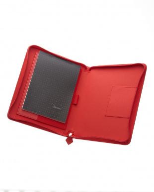 レッド  サフィアーノジップ タブレットケース ラージサイズ見る