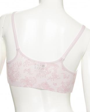 ライトピンク  涼ブラ 花柄レースプリント ハーフトップ見る