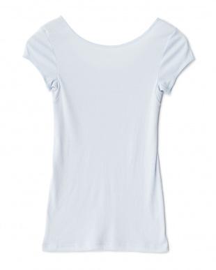 サックス  日焼け防止 UVケア 綿混1分袖シャツ見る