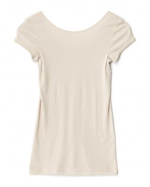 サンドベージュ  日焼け防止 UVケア 綿混1分袖シャツ見る