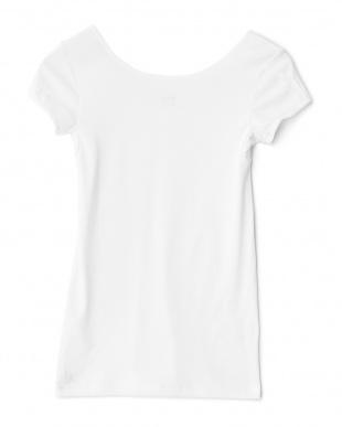 ホワイト  日焼け防止 UVケア 綿混1分袖シャツ見る