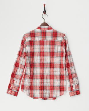 レッド  タータンチェックシャツ見る