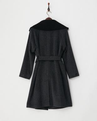 ブラック  衿リブ紡毛ロングコート見る