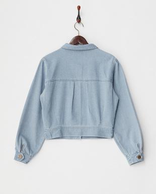 ブルー 刺繍デニムジャケット見る
